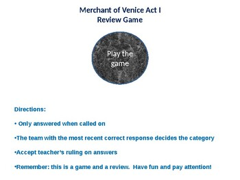 Merchant of Venice PowerPoint Trivia Game, Act I