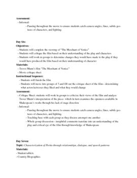 Merchant of Venice Unit Plan