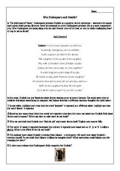 Merchant of Venice worksheet: Shylock's portrayal act 2 scene 8