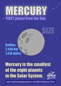 Mercury Planet Poster ( Solar System )