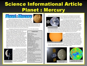 Mercury (Space and Planets Article with Question Sheet and