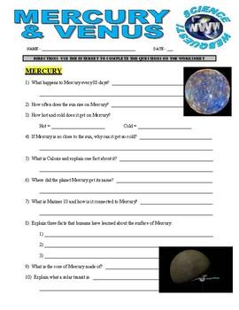 Mercury / Venus Space and Planets Webquest