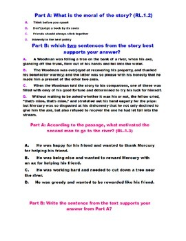 Mercury and the Woodman Fable FSA style Questions