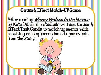 Mercy Watson to the Rescue Cause and Effect Match-Up
