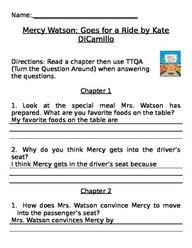 Mercy Watson Goes for a Ride Comprehension Questions
