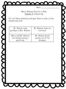 Mercy Watson Goes for a Ride Literature Study Packet