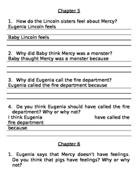 Mercy Watson to the Rescue Comprehension Questions