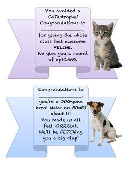 Merit Certificates - Animal puns
