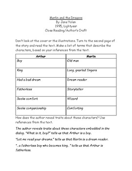 Merlin and the Dragons Close Reading Author's Craft Character Traits Exercise
