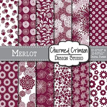 Merlot Wine Floral Digital Paper 1200