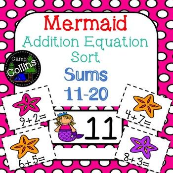 Mermaid Addition Equation Sort: Sums 11-20