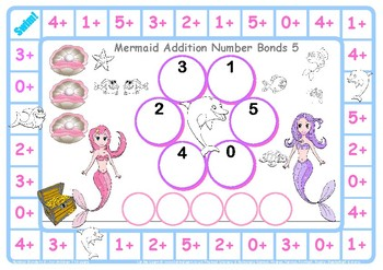 Mermaid Addition Number Facts to 5