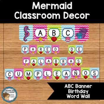 Mermaid Classroom Decor ABC Banner Birthdays Word Wall SPANISH