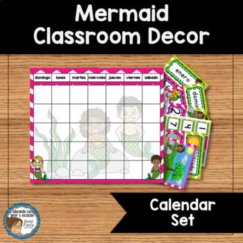 Mermaid Classroom Decor Calendar Set SPANISH