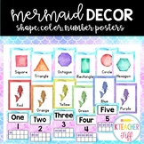 Mermaid Classroom Decor: Color, Number, and Shape Posters