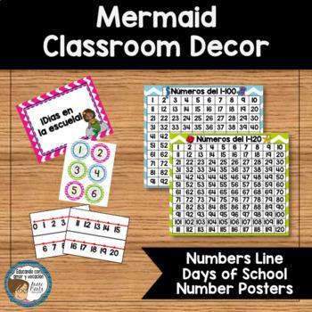 Mermaid Classroom Decor Days of School Number Line SPANISH