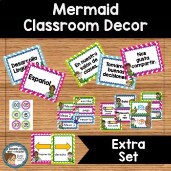 Mermaid Classroom Decor Extra Set SPANISH