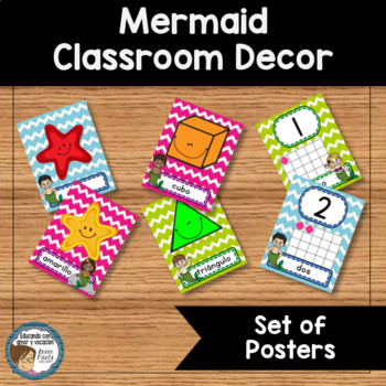 Mermaid Classroom Decor Set of Posters SPANISH