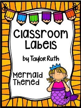 Mermaid Classroom Supply Labels