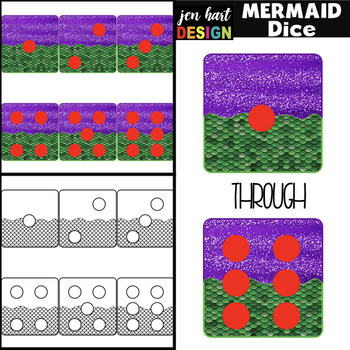 Mermaid Clip Art - Mermaid Math Dice {jen hart Clip Art}