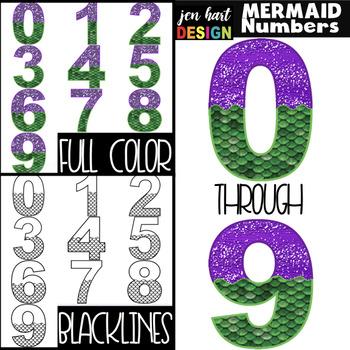 Mermaid Clip Art - Mermaid Numbers {jen hart Clip Art}