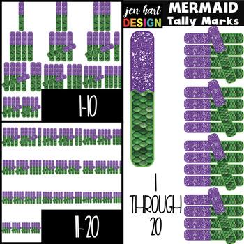 Mermaid Clip Art - Mermaid Tally Marks 1-20 {jen hart Clip Art}