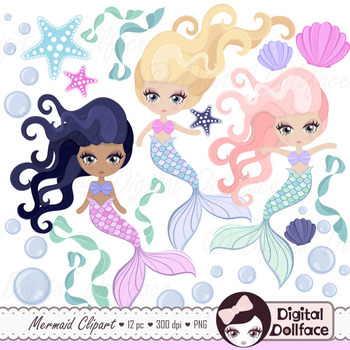 Mermaid Clip Art - pastel colors