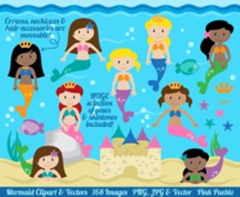 Mermaid Clipart Clip Art, Mermaids Clip Art Clipart Vectors