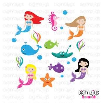 Mermaid Clipart, Mermaid Graphics, Cute Mermaid Clipart Set, Ocean Clipart