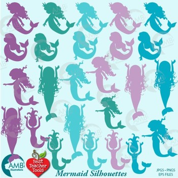 Mermaid Clipart, Mermaids Silhouettes Clipart (Best Teacher Tools} AMB-1933