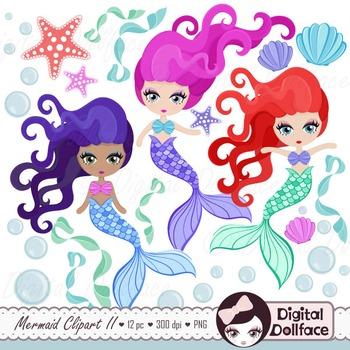 Mermaid Clipart, Ocean, Starfish, Seashells
