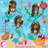 Mermaid Clipart, Pretty African American Mermaids, Clipart AMB-1363