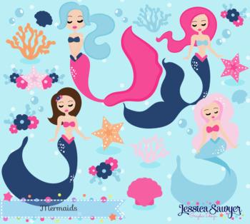 Mermaid Clipart or Summer Clipart