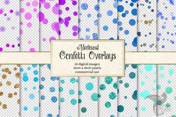 Mermaid Confetti Overlays, digital clipart, mermaid party, blue glitter
