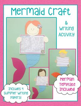 Mermaid Craft and Writing Activity (Merman Included Too!)
