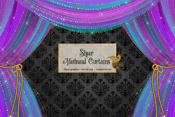 Mermaid Curtains Clipart, stage curtain clip art in pink, gold, and turquoise