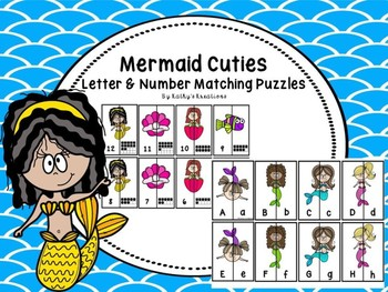 Mermaid Cuties Letter & Number Matching Puzzles