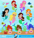 Mermaid Digital Clipart, Mermaid Clipart, Mermaid Clip Art