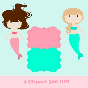 Mermaid Digital Paper & Clipart