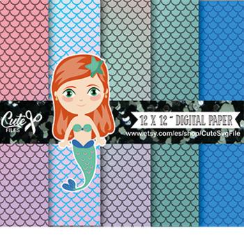 Mermaid Digital Papers, Nautical Papers, Ocean papers, Mermaid papers,  m