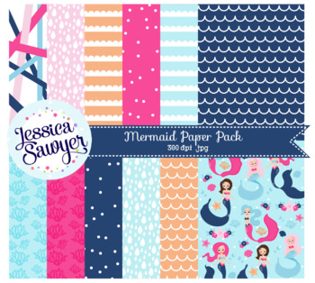 Mermaid Digital Papers or Summer Backgrounds