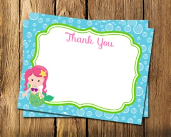 Mermaid Flat Thank You Note Cards