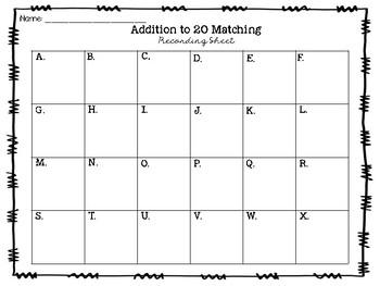 Mermaid Fun Addition to 20 Matching