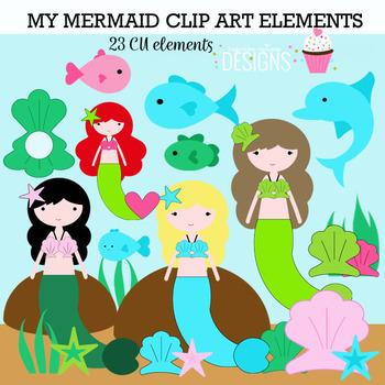 Mermaid Girl Digital Clip Art Elements