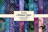 Mermaid Glitter Digital Paper, seamless mermaid scale patt