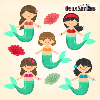 Mermaid Kids Clip Art - Great for Art Class Projects!