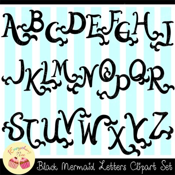 Mermaid Letters Black Silhouettes Clipart Set
