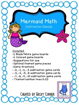 Mermaid Math Games- Subtraction
