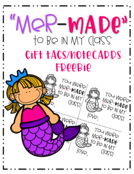 """Mermaid """"Mer-made"""" to Be in My Class Back to School Gift Tag"""