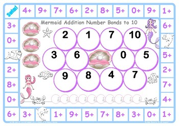 Mermaid Number Facts to 10 Game